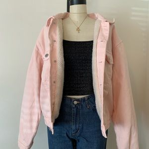 Brandy Melville pink denim fur lined jacket NWT